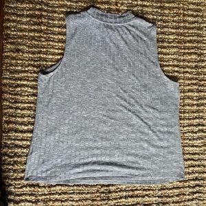 Ricki's grey sleeveless top solid high neckline